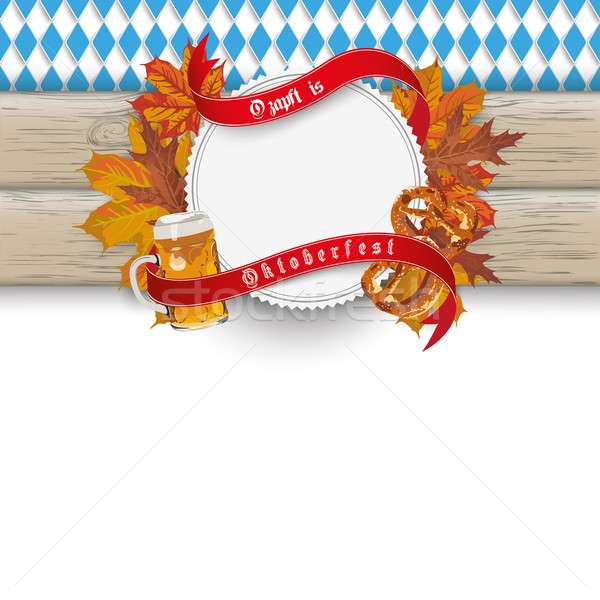 Bavarian Oktoberfest Wooden Banner Foliage Stock photo © limbi007
