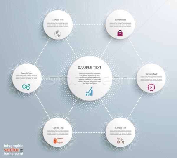 Infografía medios tonos círculos hexágono redes red Foto stock © limbi007