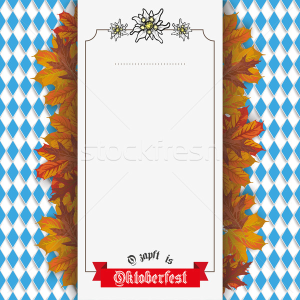 Oktoberfest Edelweiss Foliage Centre Banner Ribbon Stock photo © limbi007