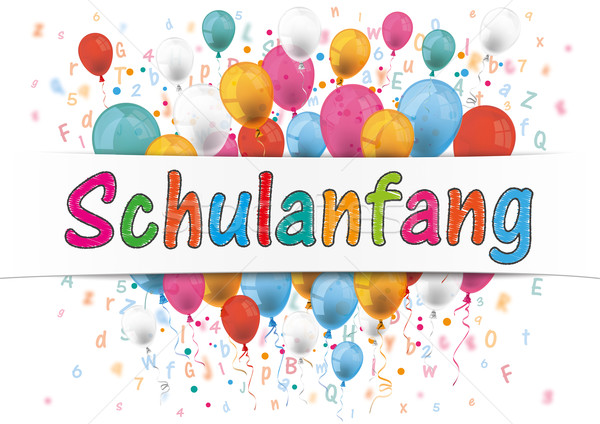 Banner Balloons Letters Numbers Schulanfang Stock photo © limbi007