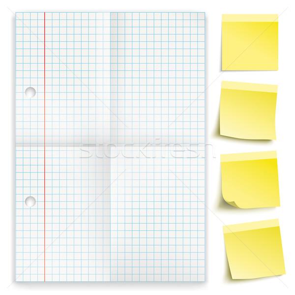 Checked Folded Paper Yellow Sticks Stock photo © limbi007