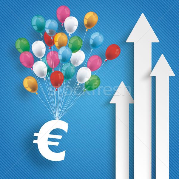 Three White Arrows Growth Euro Balloons Stock photo © limbi007