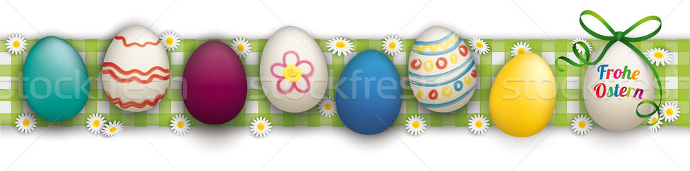 Happy Easter Ostern Eggs Header Checked Cloth Stock photo © limbi007