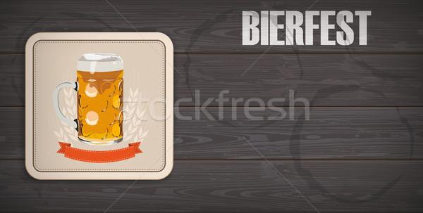 Dark Wooden Background Beer Coaster Bierfest Menu Board Stock photo © limbi007