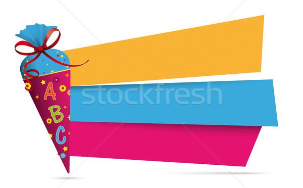 Cukorka kúp színes szalag papír bannerek Stock fotó © limbi007