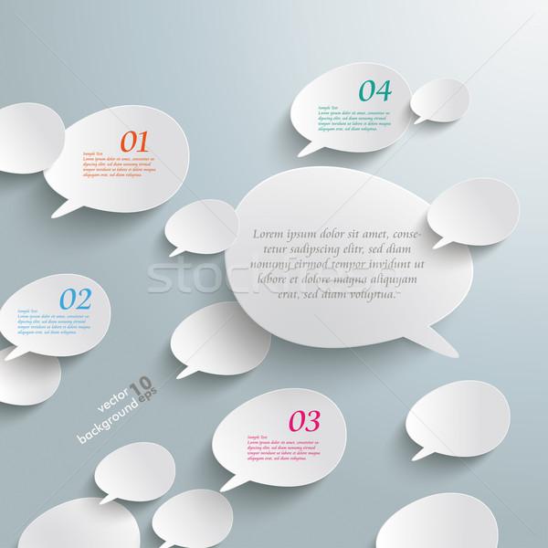 Bevel Speech Bubbles White Opinion Infographic Design Stock photo © limbi007