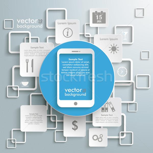 Bleu cercle smartphone blanche gris Photo stock © limbi007