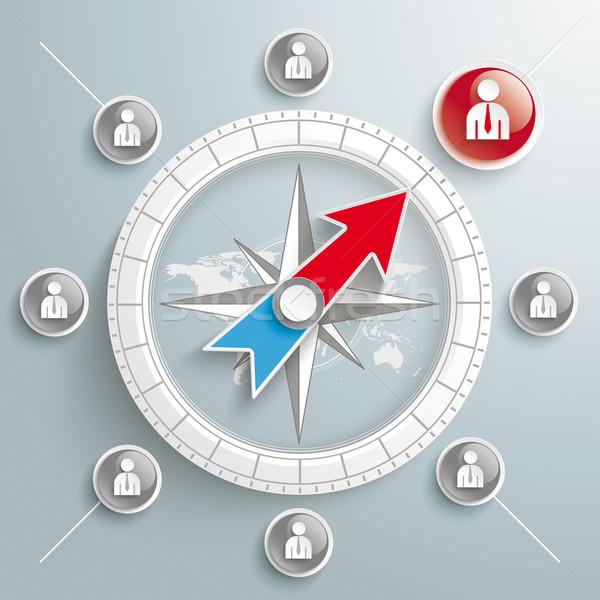 Compass Headhunter Silver Background Stock photo © limbi007