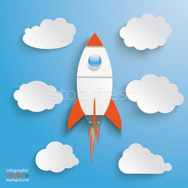 Rocket Clouds Blue Sky Stock photo © limbi007