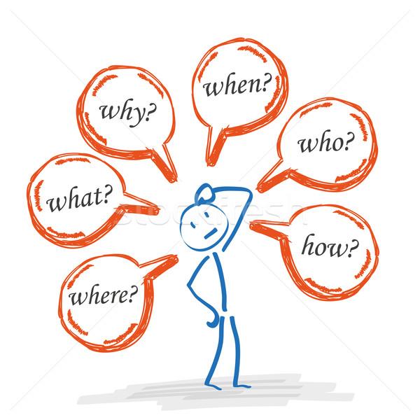 Stickman Speech Bubbles Questions Engl Stock photo © limbi007