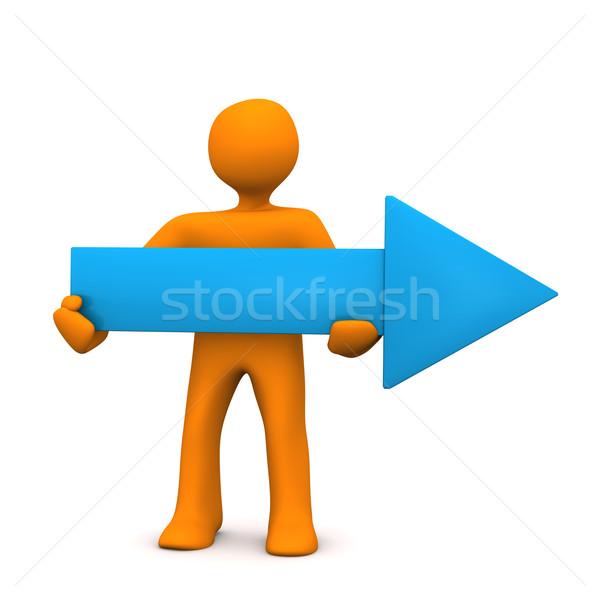 Mavi ok turuncu beyaz adam Stok fotoğraf © limbi007