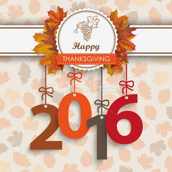 2016 Foliage Thanksgiving Emblem Vector Illustration