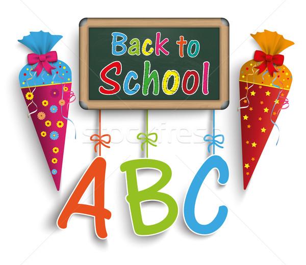 Cukorka kúp vissza az iskolába borító eps 10 Stock fotó © limbi007