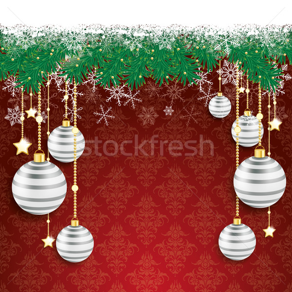 Snow Fir Twigs Bokeh Gray Baubles Stock photo © limbi007