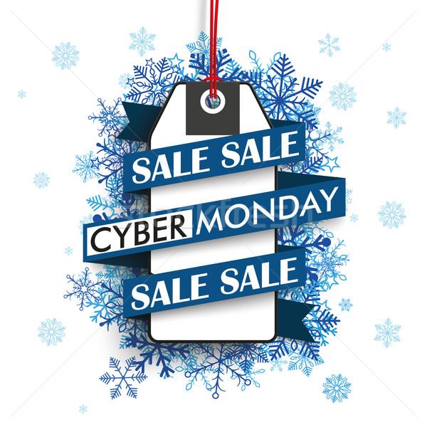 Cyber Monday Ribbon Price Sticker Blue Snowflakes Stock photo © limbi007