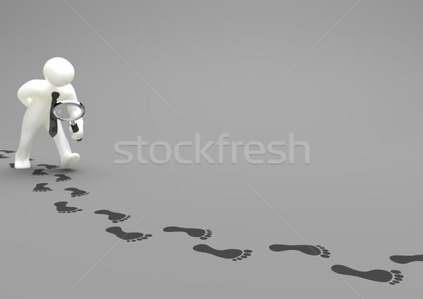 Lábnyomok nagyító szürke 3d illusztráció számítógép üveg Stock fotó © limbi007