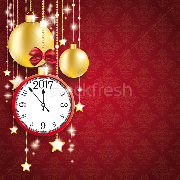 Red Background Ornaments Clock 2017 Golden Baubles Stock photo © limbi007