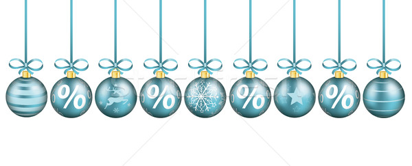 Cyan Sale Christmas Baubles Stock photo © limbi007