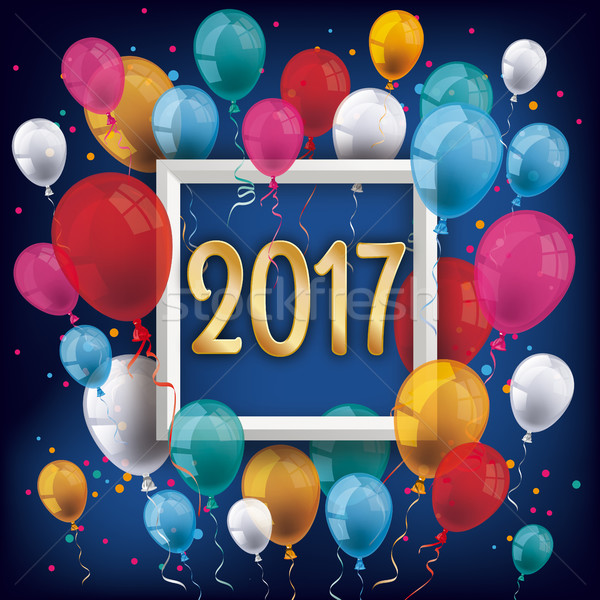 Golden 2017 Frame Silvester Night Colored Balloons Stock photo © limbi007