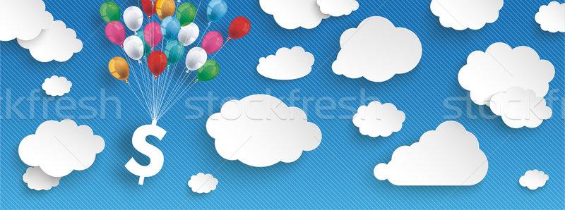 Paper Clouds Striped Blue Sky Balloons Dollar Header Stock photo © limbi007
