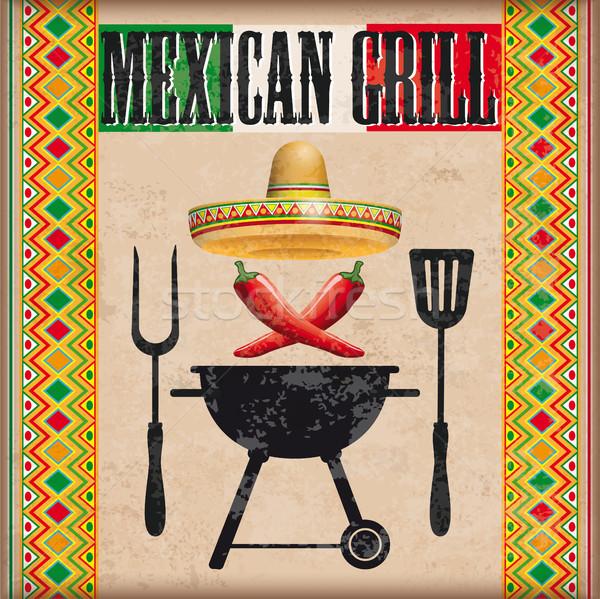 Stockfoto: Vintage · dekken · Mexicaanse · grill · ornamenten · bbq