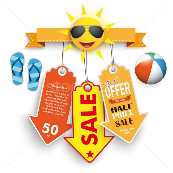 Zomer verkoop prijs stickers strandbal zon Stockfoto © limbi007