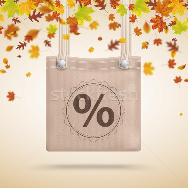 коричневый кошелька сумку процент осень листва Сток-фото © limbi007