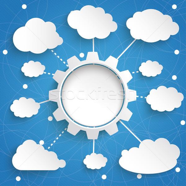 Infographic Internet Networks Gear Wheel Cloud Blue Sky Stock photo © limbi007