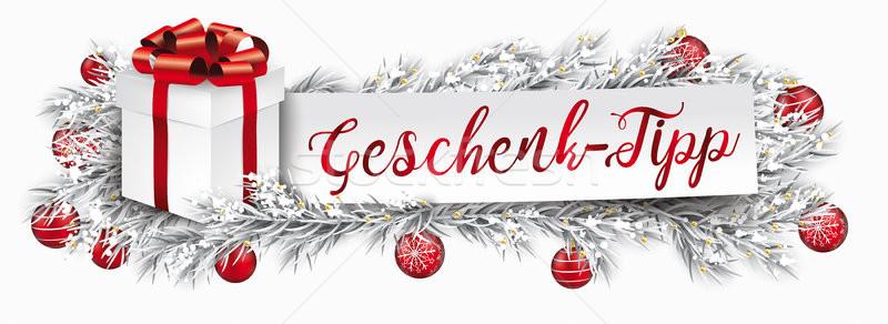 Banner czerwony christmas dar zamrożone tekst Zdjęcia stock © limbi007