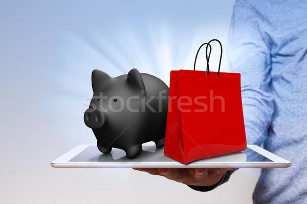 Сток-фото: человека · стороны · Piggy · Bank · корзина · интернет