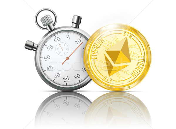Golden Ethereum Coin Stopwatch Mirror Stock photo © limbi007
