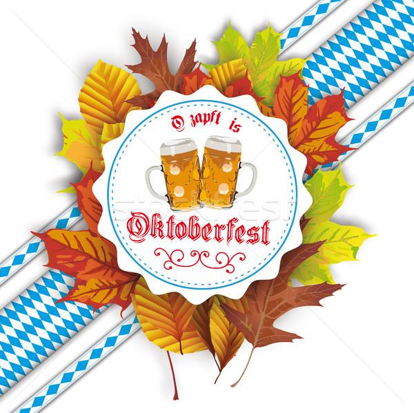 Oktoberfest Label Bavarian Ribbons Beer Autumn Foliage Stock photo © limbi007