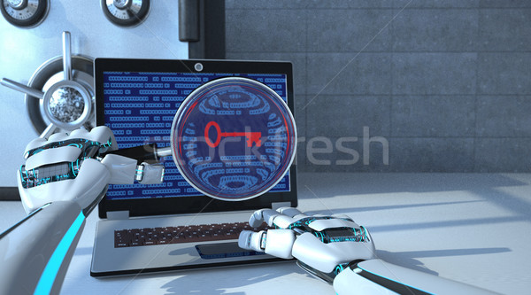 Roboter Hände Bank Gewölbe Lupe Kennwort Stock foto © limbi007