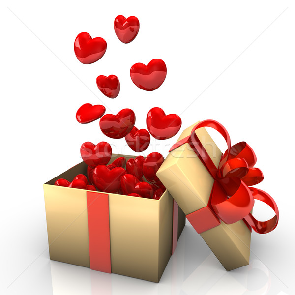 Gift With Flying Red Hearts Stock photo © limbi007