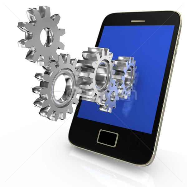 Gear Колеса смартфон большой железной белый Сток-фото © limbi007