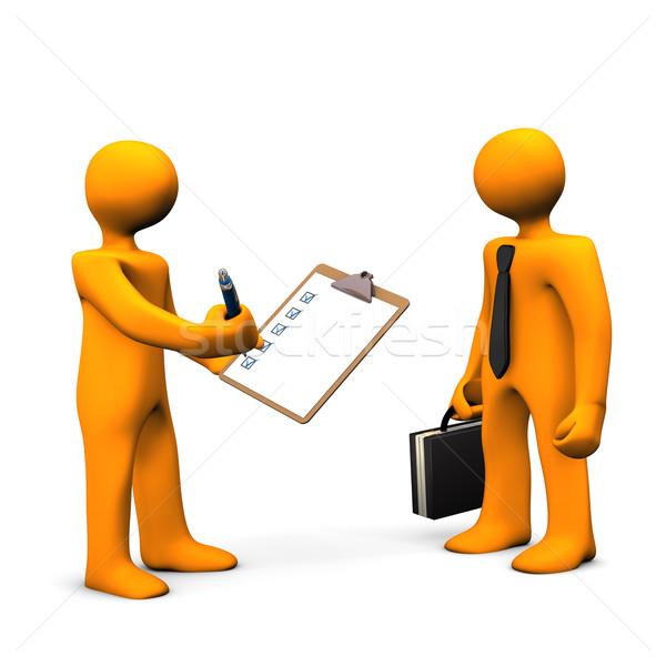 Empregado verificar laranja desenho animado clipboard Foto stock © limbi007