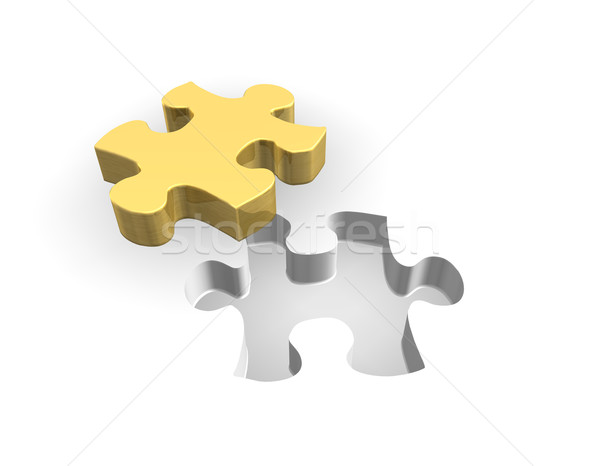 Golden Puzzle 3D Stock photo © limbi007