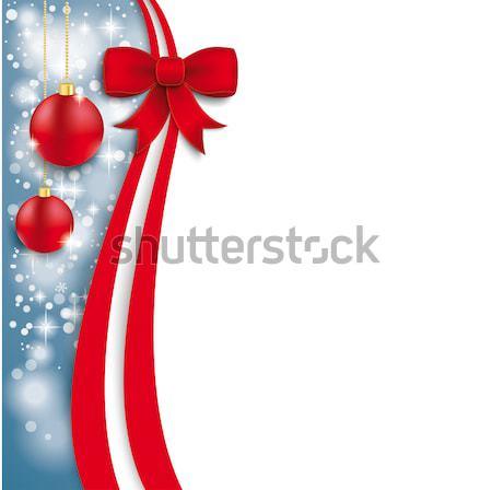 Christmas Flyer Oblong Red Ribbon Stock photo © limbi007