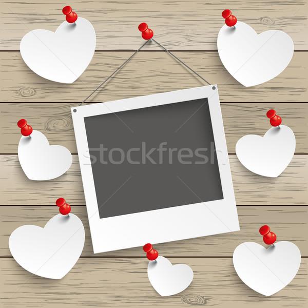 Stock photo: Paper Photoframe Hearts Thumbtack Wood