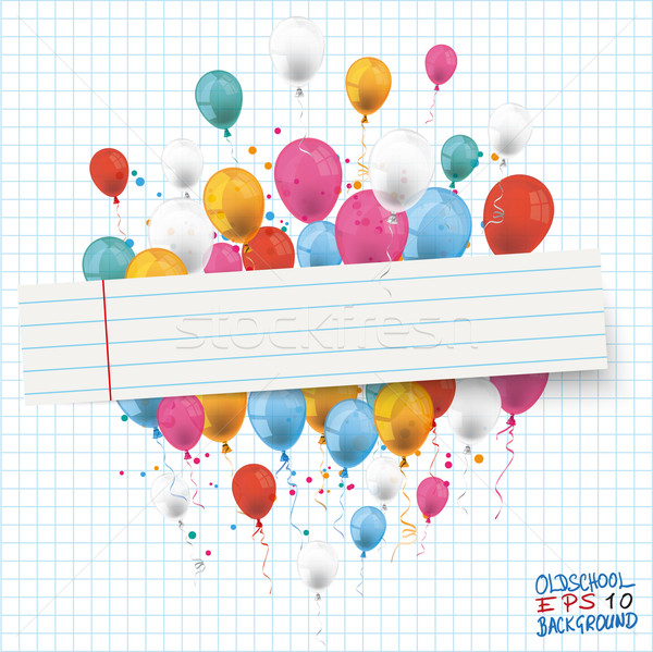 Checked Paper Balloons Striped Banner Stock photo © limbi007