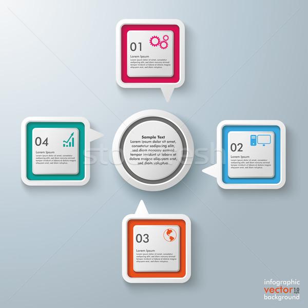 Stockfoto: Rechthoek · centrum · cirkel · vier · kleurrijk