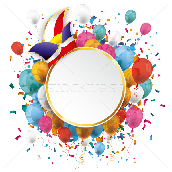 Golden Paper Circle Balloons Confetti Carnival Stock photo © limbi007