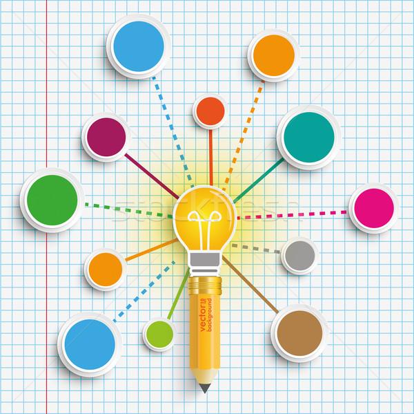 Pencil Bulb Circles Network Infographic Stock photo © limbi007