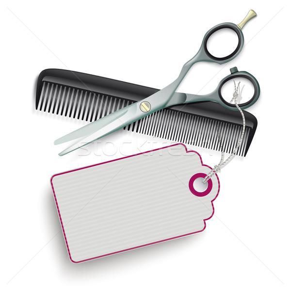 Scissors Comb Price Sticker SH Stock photo © limbi007