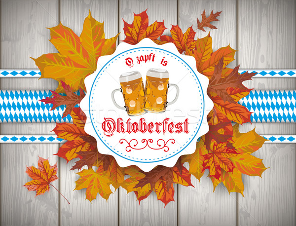 Foto stock: Oktoberfest · emblema · cerveza · follaje · madera · texto