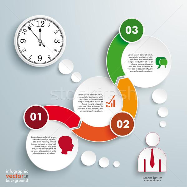 Wave 3 Circles Timeline Clock Infographic Stock photo © limbi007