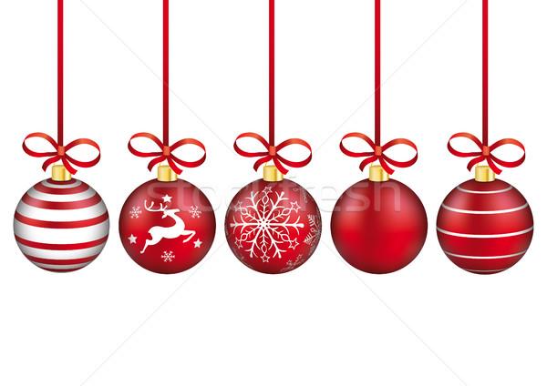 Stok fotoğraf: Kırmızı · Noel · beyaz · eps · 10