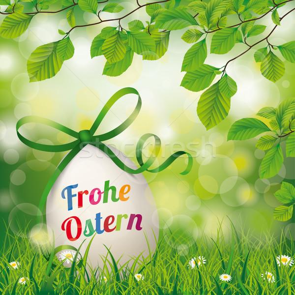 Frohe Ostern Easter Egg Beech Twigs Flowers Stock photo © limbi007