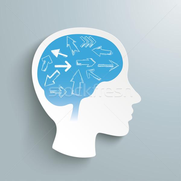 Umani testa frecce cervello grigio eps Foto d'archivio © limbi007