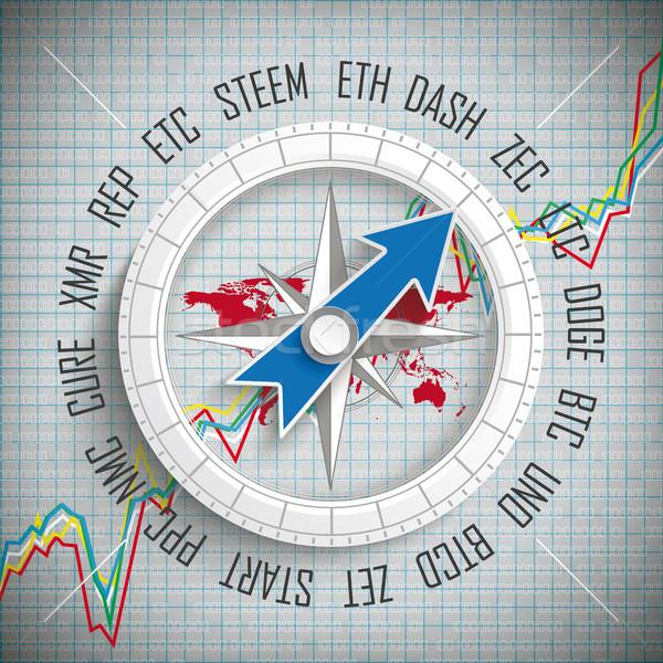 Compass Cryptocurrency Growing Chart Stock photo © limbi007